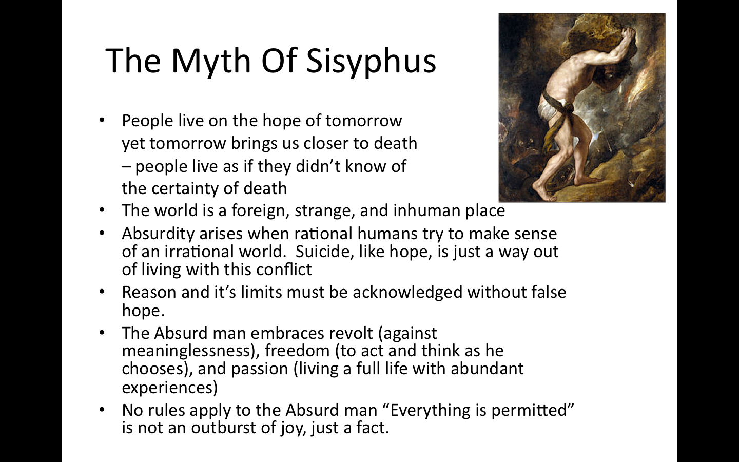 camus essay on sisyphus This lesson looks at how an existentialist perspective would shed light on josh's  situation we'll focus on the essay the myth of sisyphus by albert camus.